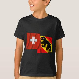 T-shirt Drapeaux de ondulation de la Suisse et de Berne