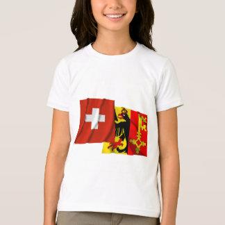 T-shirt Drapeaux de ondulation de la Suisse et de Genève