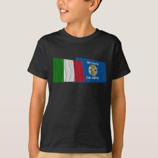 T-shirt Drapeaux de ondulation de l'Italie et de la