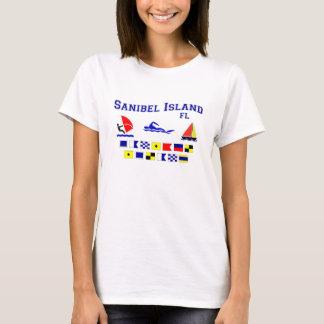 T-shirt Drapeaux de signal de FL d'île de Sanibel