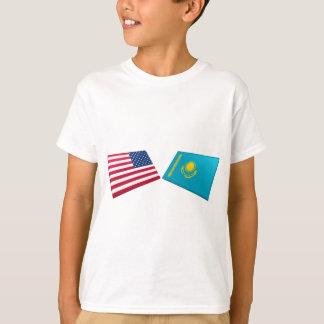 T-shirt Drapeaux des USA et de Kazakhstan