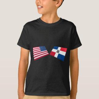 T-shirt Drapeaux des USA et de la République Dominicaine