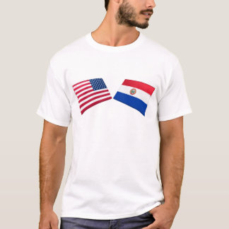T-shirt Drapeaux des USA et du Paraguay