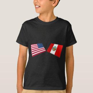 T-shirt Drapeaux des USA et du Pérou
