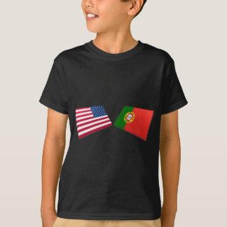 T-shirt Drapeaux des USA et du Portugal