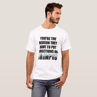 T-shirt drôle de directions de shampooing