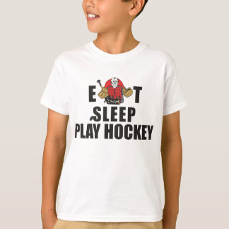 T-shirt Drôle mangez le gardien de but d'hockey de jeu de