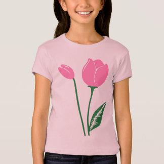 T-shirt du Babydoll des filles roses de tulipes
