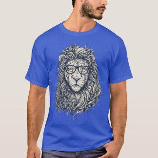T-shirt du bleu royal des hommes drôles de lion