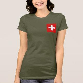 T-shirt du DK de drapeau et de carte de la Suisse