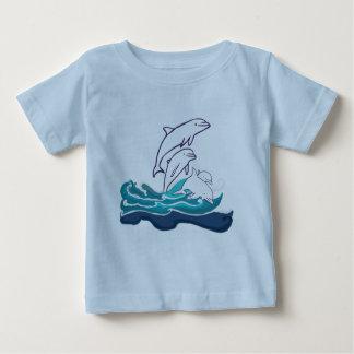 T-shirt du Jersey d'amende de bébé de dauphins,