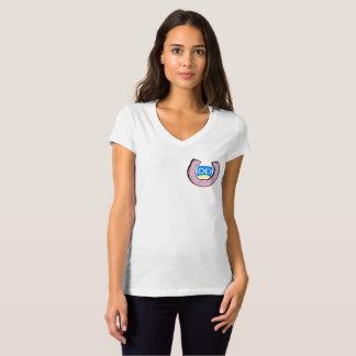 T-shirt du V-Cou des femmes avec le logo