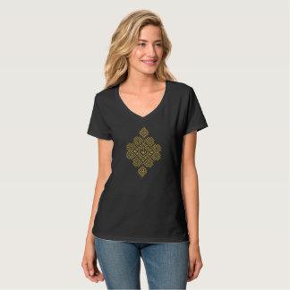 T-shirt du V-Cou des femmes FOLKLORIQUES ROUMAINES