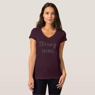 T-shirt du V-cou des femmes fortes de fille (copie