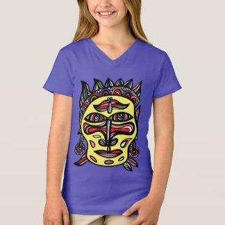 "T-shirt du V-Cou des filles ""de masque primitif"""
