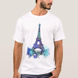 T-shirt Éclaboussure de couleur d'Eiffel de visite de La