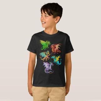 T-shirt École colorée de dragons d'arc-en-ciel