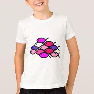 T-shirt École des symboles chrétiens de poissons - rose
