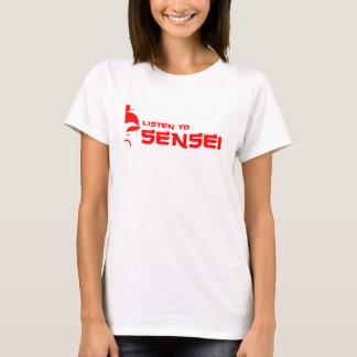 T-shirt Écoutez le blanc/rouge de Sensei (femmes)