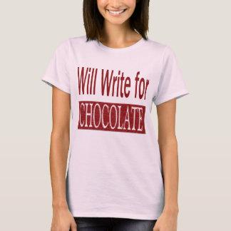 T-shirt Écrira pour le cadeau de chocolat pour des auteurs