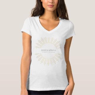 T-shirt élégant de rayon de soleil d'or de beauté