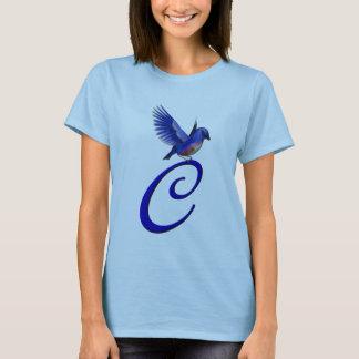 T-shirt élégant initial d'oiseau bleu du