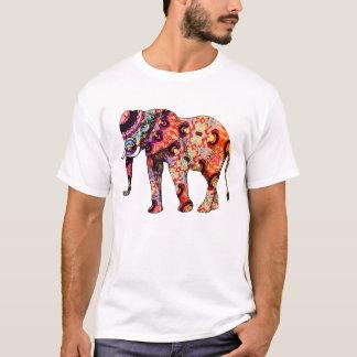 T-shirt Éléphant psychédélique coloré d'art déco