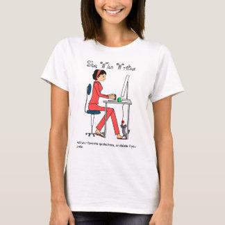 T-shirt Elle qui écrit la chemise/rouge+brune