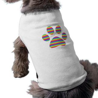 T-shirt empreinte de patte de chiot d'arc-en-ciel