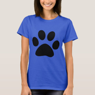 T-shirt Empreinte de patte noir bleu Motif mignon Moderne