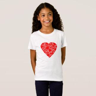 T-shirt en jersey fin, Blanc avec coeur rouge