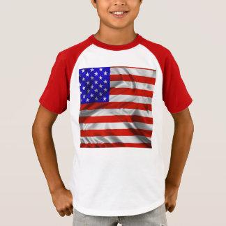 T-shirt en soie de drapeau des Etats-Unis de