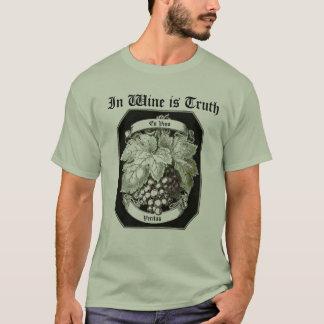 T-shirt En vin est le raisin vintage de Veritas de vin