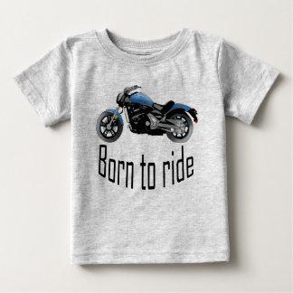 """T-shirt enfant gris """"Born to ride"""", moto bleue"""