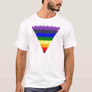 T-shirt Entonnoir onduleux de triangle d'arc-en-ciel de