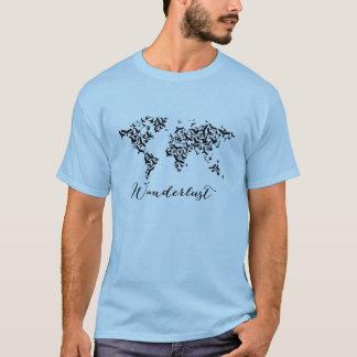 T-shirt Envie de voyager, carte du monde avec des oiseaux