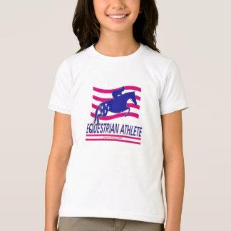 T-shirt équestre de sonnerie de filles d'athlète