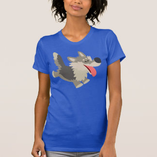 T-shirt espiègle mignon de femmes de loup de bande