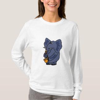 T-shirt EST l'éléphant jouant la chemise de saxophone