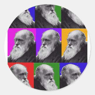 T-shirt et cadeaux d'ART de Charles Darwin POP Sticker Rond