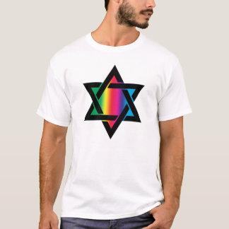 T-shirt Étoile de David juive d'arc-en-ciel