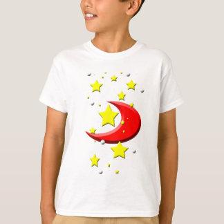 T-shirt Étoiles et une lune rouge