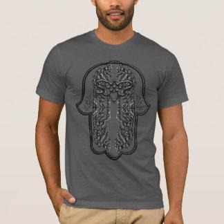T-shirt Exploit de main de Hamsa : Coeur (effet argenté)