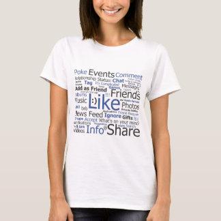 T-shirt Facebook - comme, poussée, étiquetée, amis