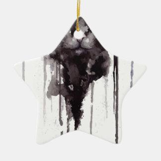 T-shirt fâché de chat ornement étoile en céramique