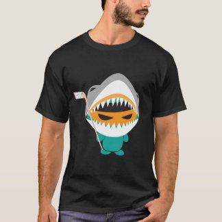 T-shirt fâché d'hockey de requin de ninja