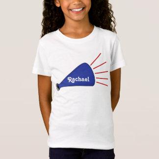 T-shirt fait sur commande bleu de pom-pom girl de