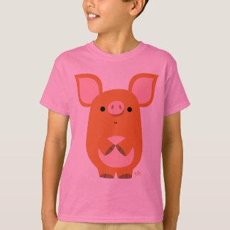 T-shirt fait sur commande d'enfants de porc timide