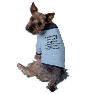 T-shirt fait sur commande L BLEU de sonnerie de T-shirt Ringer Pour Chien