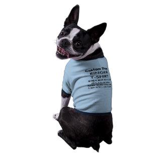 T-shirt fait sur commande M BLEU de sonnerie de T-shirt Ringer Pour Chien